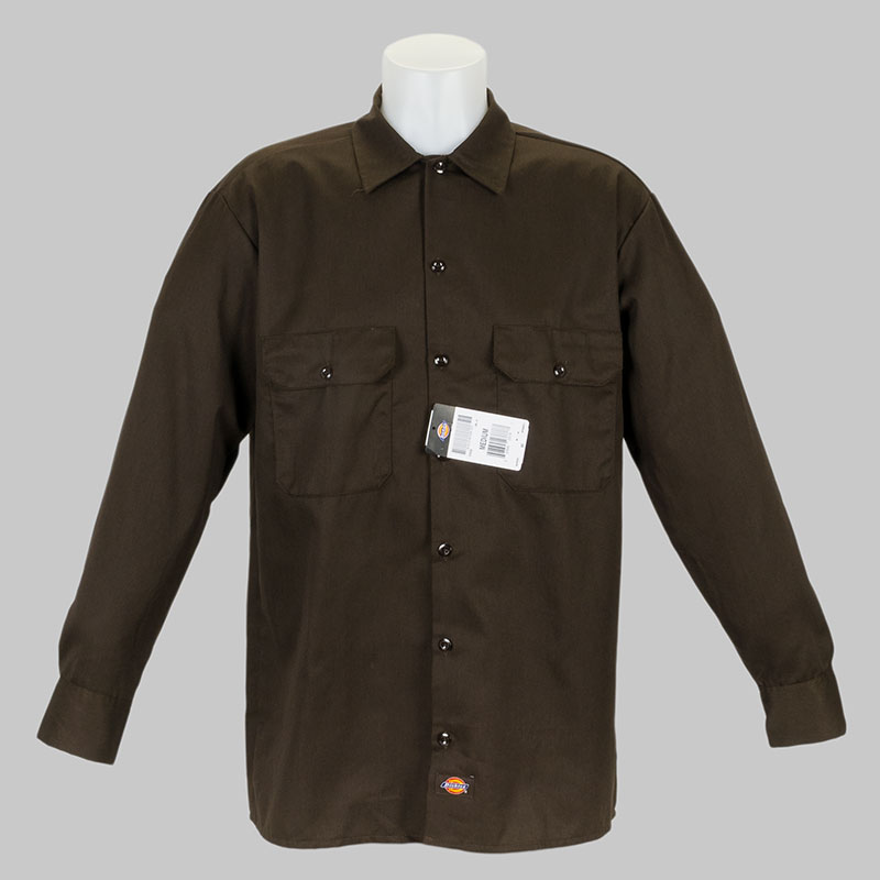 Buy dickies clothing long sleeve work shirt brown at skate for Dickey shirts clothing co