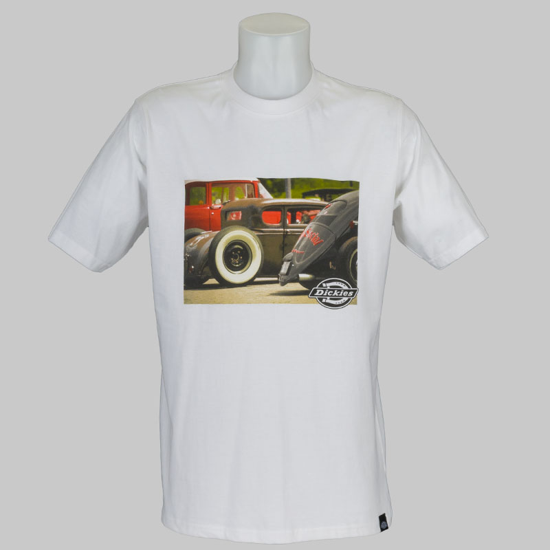 Buy dickies clothing t shirt hot rod white at skate pharm for Dickey shirts clothing co